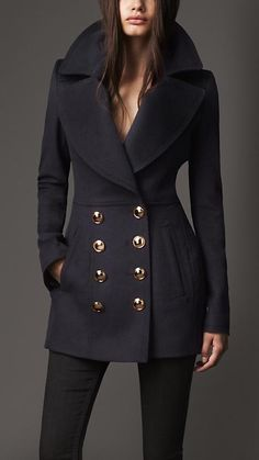 [FALL] Burberry London Wool Cashmere Pea Coat - Stay warm this winter with Women's Winter Coats & Women's Jackets