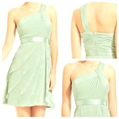 Adriana Papell Evening Dress Elegant chiffon tiers and a sweet one shoulder style.  Mint color and size 2.  Can be worn as a bridesmaid dress. Adrianna Papell Dresses One Shoulder