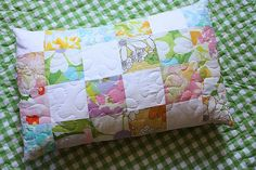 travel pillow cover - vintage sheet scraps (I already have some on hand)