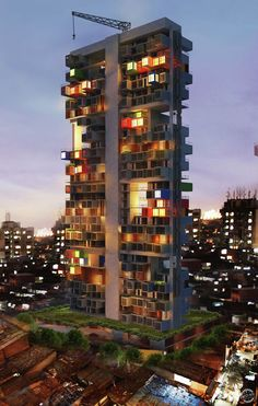 The modern skyscraper are designed for the slum is an good example. Each individual unit is small, but with high quality decoration. Green space will bring poverty a healthy life.