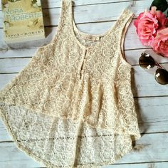 Lace Tank Top Lace button front tank top/vest by Elodie (sold at Nordstrom). Excellent condition. No rips / stains / tears.  Size XS Elodie Tops