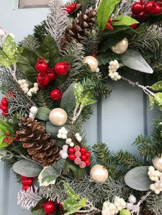 Berries and Pinecones Winter Wreaths winter wreaths for front Winter Wreaths, Summer Wreath, Wreaths For Front Door, Holiday Wreaths, Holiday Decor, Patriotic Decorations, Thanksgiving Decorations, Xmas Decorations, Vibeke Design