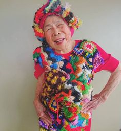 Artist Chinami Mori weaves delightfully colorful creations, her cheerful 93-year-old grandmother models them.
