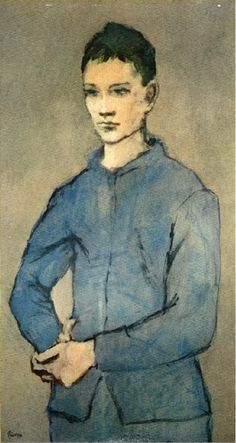 Pablo Picasso - Blue Period - - A Boy in Blue - 1905 Henri Rousseau, Henri Matisse, Kunst Picasso, Picasso Art, Picasso Paintings, Georges Braque, Picasso Rose Period, Picasso Blue, Guernica