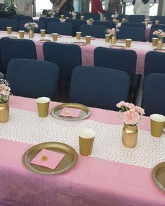 Pink and Gold Baby Shower Table Decor
