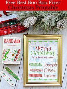 #ad Free Best Boo Boo Fixer  Printable @Bandaidbrand @Target #StockedWithLove #FreePrintable #Christmas #DIY