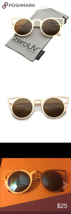 ✌️Hipster Catty Sun Eyeglasses  Features Metal frame Mirrored lens Non-polarized Lens width: 48 mm Lens height: 46 mm Bridge: 22 mm 100% Protection Against Harmful UVA/UVB Rays Full Metal Cut-Out Frame Flash Mirror Lens Unique Metal Cat Eye Shape Lens Height: 46 mm | Lens Width: 48 mm | Bridge: 22 mm | Frame Total: 145 mm Accessories Glasses