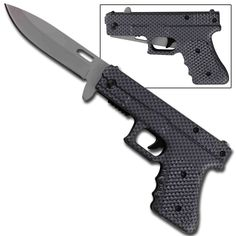 Dont let the sharp look of this silver Micarta texture draped handgun fool you, a quick flick of the true trigger reveals this handy little beautys inner secret- its actually a knife with a 3.25 inch drop point blade. #fullyloadedspringassistpistolknifemicartasilver