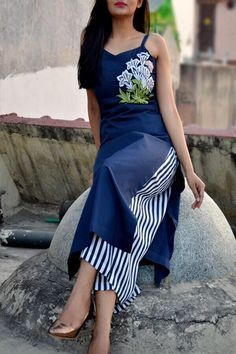 Buy Blue Embroidered Kurti with Stripes Palazzo by Colorauction - Online shopping for Kurtis in India Dress Indian Style, Indian Outfits, Kurta Designs Women, Blouse Designs, Kurti Patterns, Designer Kurtis Patterns, Embroidered Kurti, Kurta Neck Design, Embroidery Suits Design
