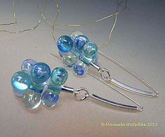 Morning Dew Earrings - Handmade lampwork glass and silver by Manuela Wutschke Total Length of the earrings about 54 mm (each one has 3 lampwork beads dangling on silver)