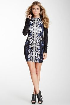 Printed Long Sleeve Cowl Neck Dress by Analili on @HauteLook