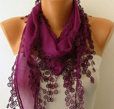 BLUE SCARF   HEADBAND NECKLACE COWL WITH  LACE EDGE BY FATWOMAN, $13.50