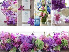 [ 会場装花:モダンリゾート ] モダンなビーチリゾートでのウェディングをイメージした会場装花。鮮やかなパープルやホットピンクの蘭やアンスリウム等のトロピカルフラワーを使って南国風のアレンジに。