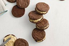 Chocolate-Peanut Butter Sandwich Cookies #recipe