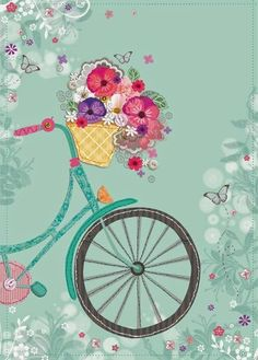 LOLA DESIGN LTD Illustration artwork greeting cards illustration fine Decoupage Vintage, Decoupage Paper, Vintage Paper, Vintage Art, Cute Wallpapers, Wallpaper Backgrounds, Iphone Wallpaper, Bicycle Art, Bicycle Design