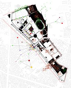 plan of public spaces with an overlay of a subjective analysis of public frequencies. raumlabor berlin | dachauer str