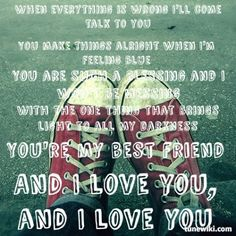 Lyric Art of My Best Friend by Weezer Lyric Art, Music Lyrics, Words To Live By Quotes, The Power Of Music, Weezer, Talking To You, Cool Bands, Singing, Best Friends