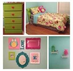 Girls owl bedroom, not the right colors but love this idea for the dresser and wall decor