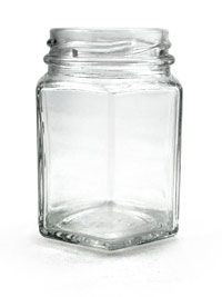 4 oz Clear Hex Glass Jar : Hex Glass Jars | containerpackaging.com | perfect for spice storage in a drawer
