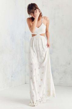 Winston White Eyelet Cutout Maxi Dress - UO