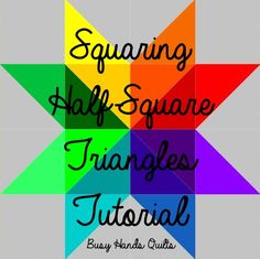 Busy Hands Quilts: Squaring Half-Square Triangles Tutorial {Without Specialty Rulers}, HSTs, Quilt Tutorial, Triangle Tutorial  Pin Now and View Later!