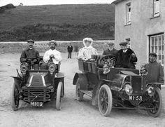 Ireland. Group in motor cars, Bunmahon, Co. Waterford, 1906