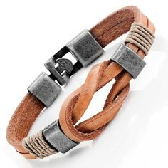 Tan Leather Nautical Knot Bracelet with Stainless Steel Silver Clasps for Him #UrbanJewelry #Cuff