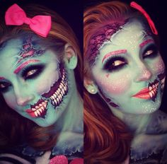 Halloween zombie pin up make up