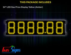 24 Inch 8888.88 LED Gas Price Display Yellow with housing dimension H710mm x W2625mm x D55mmand format 8888.88 comes with complete set of Control Box, Power Cable, Signal Cable & 2 RF Remote Controls (Free remote controls).