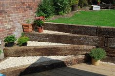 design for railway sleepers to enhance garden stream bank Railroad Ties Landscaping, Landscaping Retaining Walls, Backyard Landscaping, Landscaping Ideas, Garden Retaining Walls, Backyard Ideas, Landscaping Edging, Decking Ideas, Garden Stream