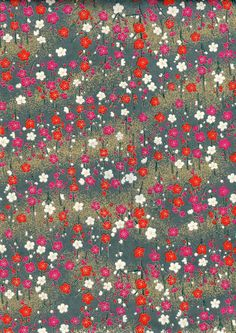 Teal Gold and Pink Flowers Japanese Yuzen Chiyogami by mosaicmouse