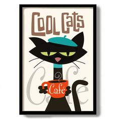 Cafe Posters, Beatnik Style, Black Cat Art, Black Cats, Cat Signs, Coffee Signs, Coffee Art, French Cafe, Cat Decor