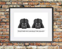Love Heart Darth Vader Valentines Gift Art Print Star Wars Couple Home Decor