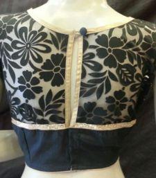 Buy Black emboss net blouse crop-top online