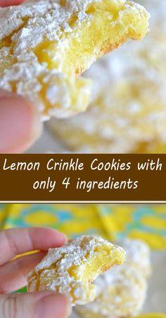 Lemon Dessert Recipes, Cake Mix Recipes, Lemon Recipes, Fruit Recipes, Baking Recipes, Delicious Desserts, Cooking Cookies, Cookie Desserts, Cookie Recipes