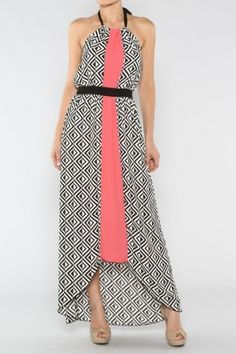 salediem.com for all your boutique needs without the price.  Shipping is FREE. Geo Halter Dress