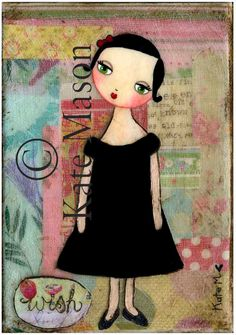 WISH PRINT Little French Girl. $15.00, via Etsy.