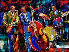 """""""Jazz is played from the heart. You can even live by it."""" - Louis Armstrong, the creator of Hot Jazz Jazz is a. Jazz Songs, Jazz Music, New Artists, Music Artists, Jazz Painting, Body Painting, Art Pictures, Photos, New Orleans Art"""