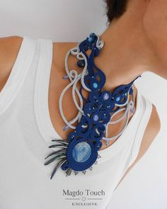 Carefully designed one of a kind artistic jewelry. by MagdoTouch Soutache Necklace, Blue Necklace, Tassel Earrings, Statement Jewelry, Boho Jewelry, Jewelry Gifts, Handmade Jewelry, Crochet Gloves, Selling Jewelry