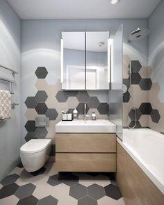 """плитка """"соты"""" в интерьере ванной комнаты"""