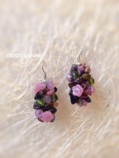 Watermelon tourmaline earrings Raw stone earrings Raw