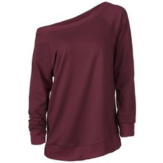 Cupshe Big Deal One Shoulder Sweatshirt ($20) ❤ liked on Polyvore featuring tops, hoodies, sweatshirts, sweaters, shirts, long sleeves, raglan top, one shoulder tops, purple top and purple sweatshirt