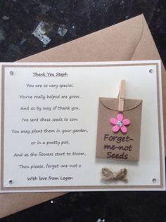Personalised Thank You Poem Gift Magnet. Pre-school/Nursery/Teacher/Assistant P