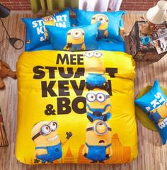 Cheap set top box internet, Buy Quality king sheet set directly from China set shoe Suppliers: 2016 new cartoon kids child minions bedding set twin/queen/king with duvet cover flat sheet ,bob keven different models Kids Twin Bedding Sets, 3d Bedding Sets, Duvet Sets, Minion Bedroom, Minions, Queen Bed Quilts, Minion Party, Bedclothes, Kids Party Decorations
