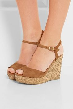 Wedge heel measures approximately 120mm/ 5 inches with a 30mm/ 1 inch platform  Tan suede Buckle-fastening ankle strap Designer color: Canyon  Made in Spain