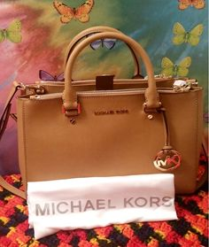 94b686760687 NWT Michael Kors Sutton Saffiano Peanut Leather Medium Satchel Handbag MK  Purse #MichaelKors #Satchel