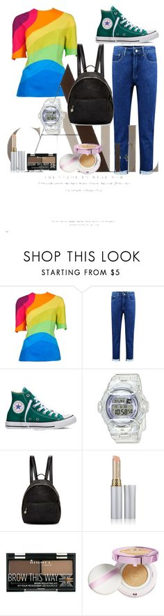 """colorful"" by bbywolfy ❤ liked on Polyvore featuring Boohoo, Converse, Baby-G, STELLA McCARTNEY, Jane Iredale, Rimmel and L'Oréal Paris"