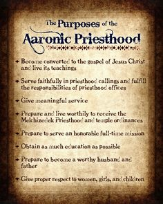 The Purposes of the Aaronic Priesthood