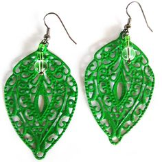 Bright Green Filigree Earrings + FREE SHIPPING - hardtofind.