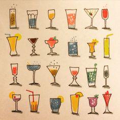 Beverage. Dryck. #illustration by Marie Åhfeldt - Mås Illustra #drink #cocktail